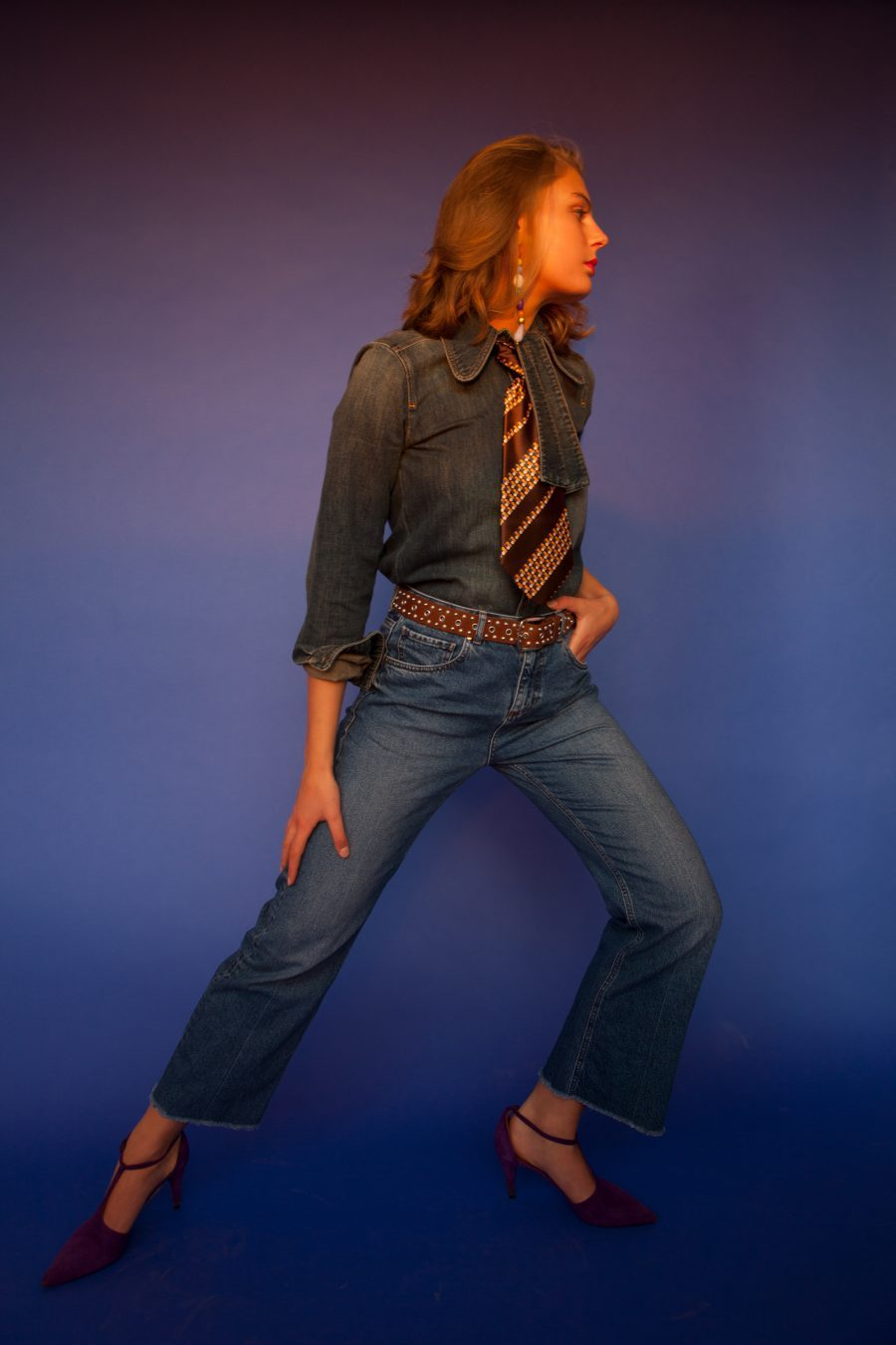 65f4800db25b ... Chloé denim blouse, Isabel Marant belt, Raey jeans, Missoni pumps,  self-made earring – another here, vintage tie – alternative here
